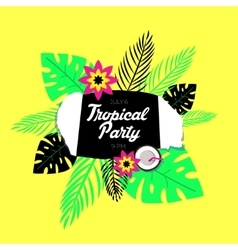 Poster template of tropical party vector