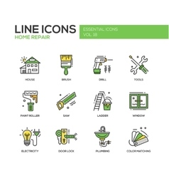Home repair line design icons set vector