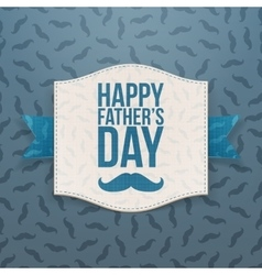 Happy fathers day paper banner with blue ribbon vector