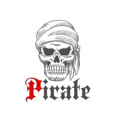 Dead pirate skull symbol for tattoo design vector image