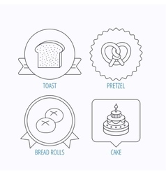 Cake pretzel and bread rolls icons vector