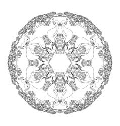 Mandala shaped contoured birds flowers leaves vector