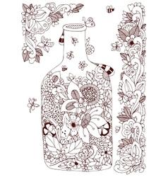 Zen tangle with flowers bottle vector