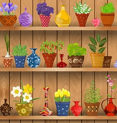 Herbs and flowers planted in cute ceramic pots for vector