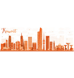 Abstract kuwait city skyline with color buildings vector