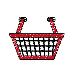 Color crayon stripe cartoon shopping basket with vector