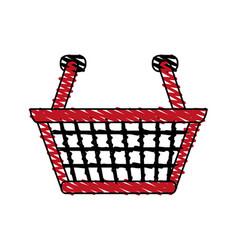 color crayon stripe cartoon shopping basket with vector image