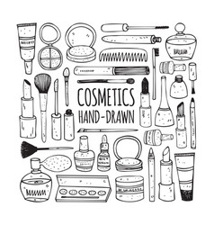 cosmetics set in doodle style vector image vector image