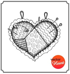 Cushion for needles and pins in shape of heart vector