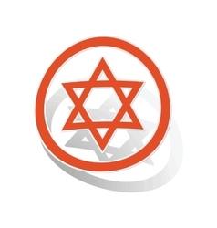 David star sign sticker orange vector