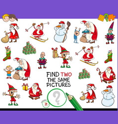 find two the same christmas pictures game vector image vector image