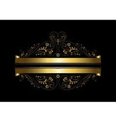 Gold floral design with a cross and ribbons vector