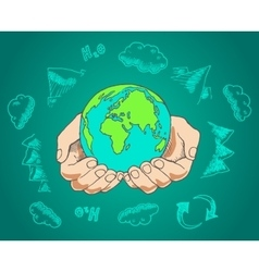 Green world concept Tree on the earth in hands vector image