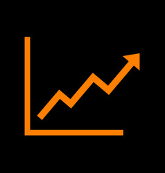 Growing bars graphic sign orange icon on black vector
