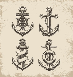 Hand Drawn Anchor Set vector image vector image