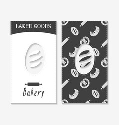 Hand drawn silhouettes bakery business cards vector