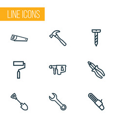 Handtools icons line style set with shovel pliers vector