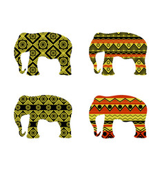 indian elephant pattern black and yellow colors vector image vector image