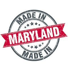 Made in maryland red round vintage stamp vector