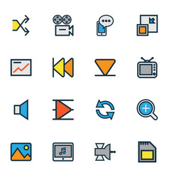 Media icons colored line set with bottom vector