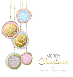 Merry Christmas and new year gold ornament design vector image