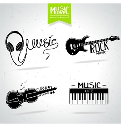 Music silhouette set vector image vector image