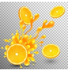 Orange slice with juice splash on transparent grid vector