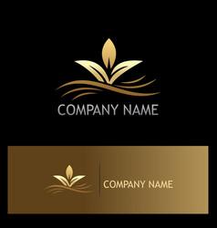 organic plant gold logo vector image vector image