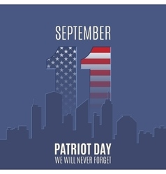Patriot day background with abstract city skyline vector