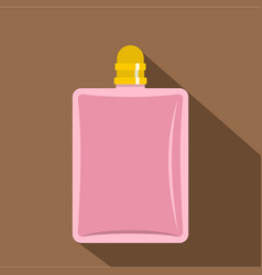 Pink bottle of female perfume icon flat style vector