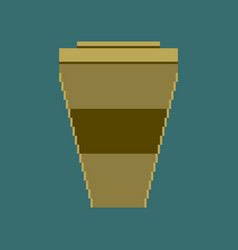 Pixel icon in flat style coffee to go vector