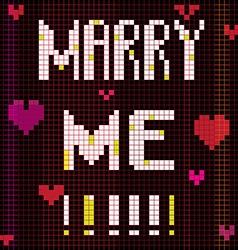 pixel marry me vector image vector image