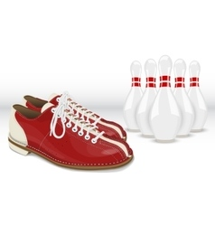 Red-white skittles and bowling shoes vector