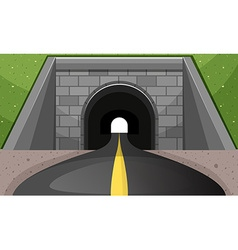 Road going through tunnel vector