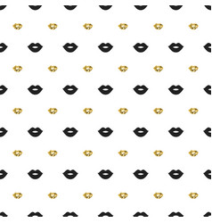 Seamless pattern with black and gold lips kiss vector