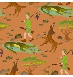 Seamless pattern with cartoon hunters wolfs and vector