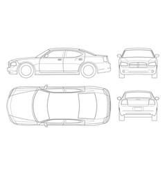 sedan car in outline business sedan vehicle vector image vector image