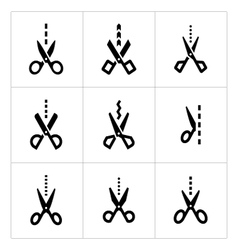 Set icons of scissors with cut line vector image