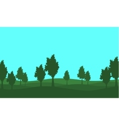 Silhouette of lined tree on the hill vector