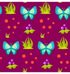 Spring forest blue butterfly seamless pattern vector
