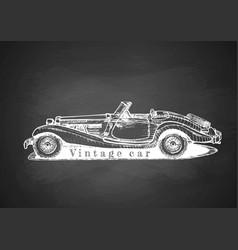 vintage convertible on blackboard vector image vector image
