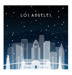 winter night in los angeles night city vector image vector image