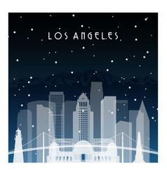 Winter night in los angeles night city vector