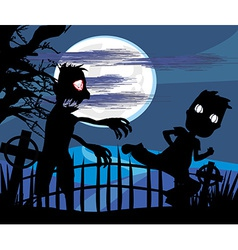 zombie attacks at night vector image