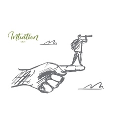 Hand drawn man standing on finger with spyglass vector