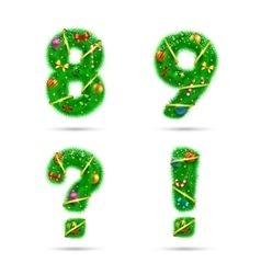 Fir tree font numbers vector image