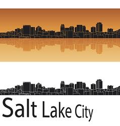 Salt lake city skyline in orange background vector