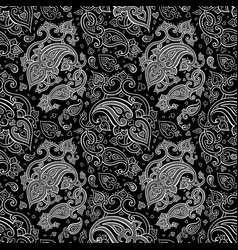 paisley beautiful silver seamless background vector image