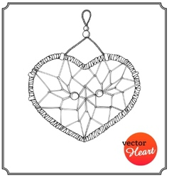 Ethnic dreamcatcher in form of heart vector