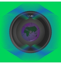 Lens on background lines with reflection planet vector
